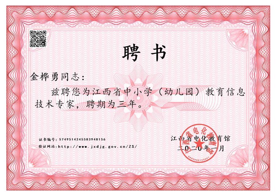 省教育信息技术专家证书