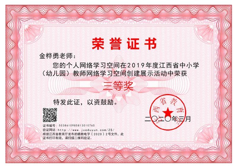 教师网络学习空间创建展示活动省级三等奖